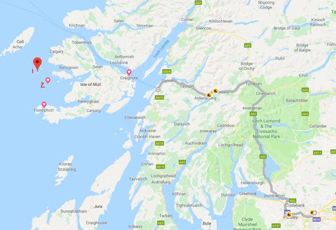 Our Route from Glasgow to Oban to Craigsmure to Fionnphort to Isle of Lunga to Isle of Staffa