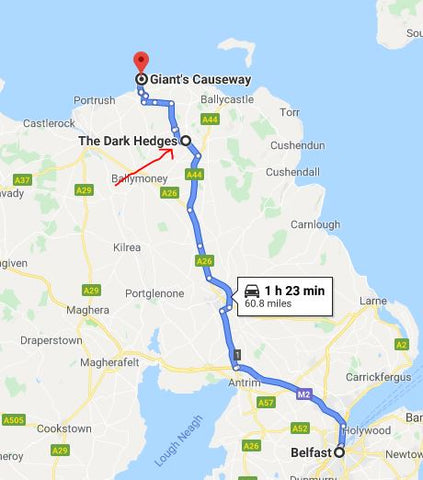 Map to Dark Hedges between Belfast and Giant's Causeway