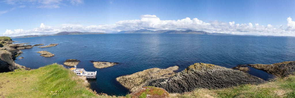 Panorma shot on top of Isle of Staffa in the Hebrides Scotland