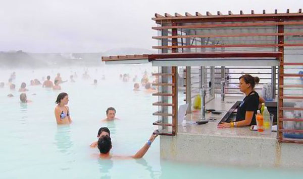 Swim Up Bar at The Blue Lagoon in Iceland