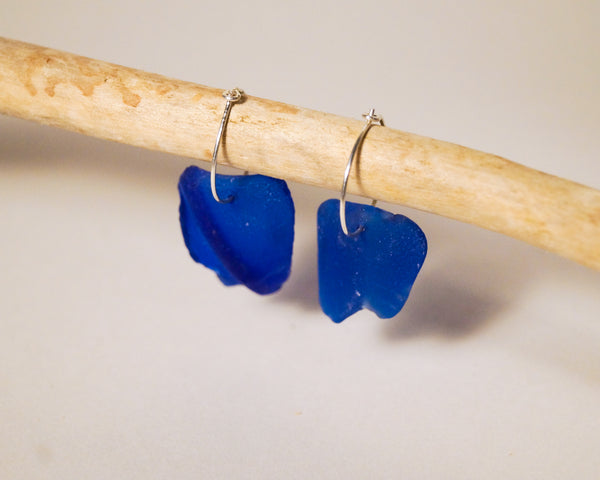 Rare Cobalt Blue Seaglass Hoops