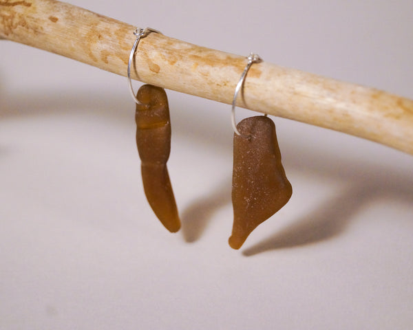 Rare Brown Seaglass Hoops