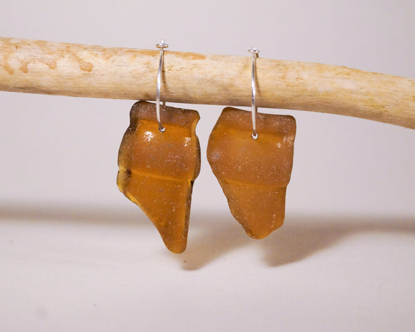 Rare Brown Bottle Top Seaglass Hoops