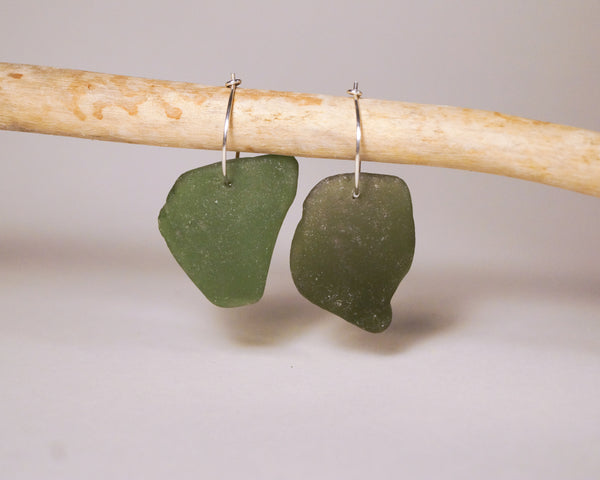 Large olive green Seaglass Hoops