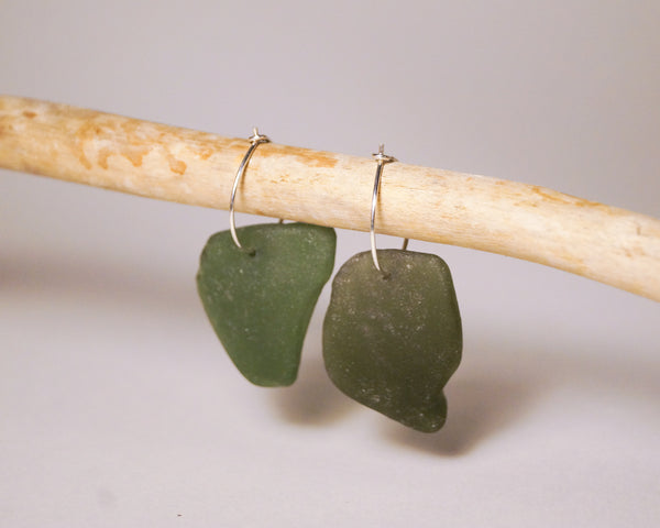 Green Sea Glass Hoops