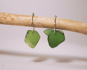 Small leaf green Seaglass Hoops
