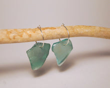 Rare Teal Blue Seaglass Hoops