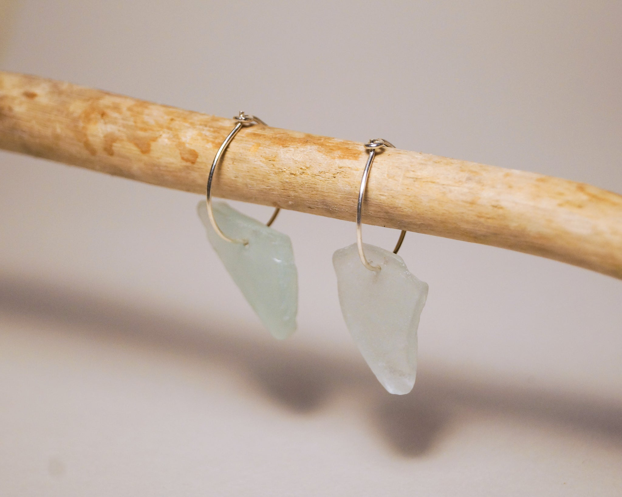 Blue Sea Glass Hoops