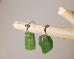 Mini Sea Glass Hoops