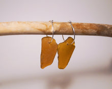 Brown Sea Glass Hoops