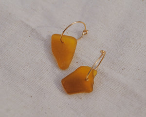 Gold Brown Seaglass Hoops