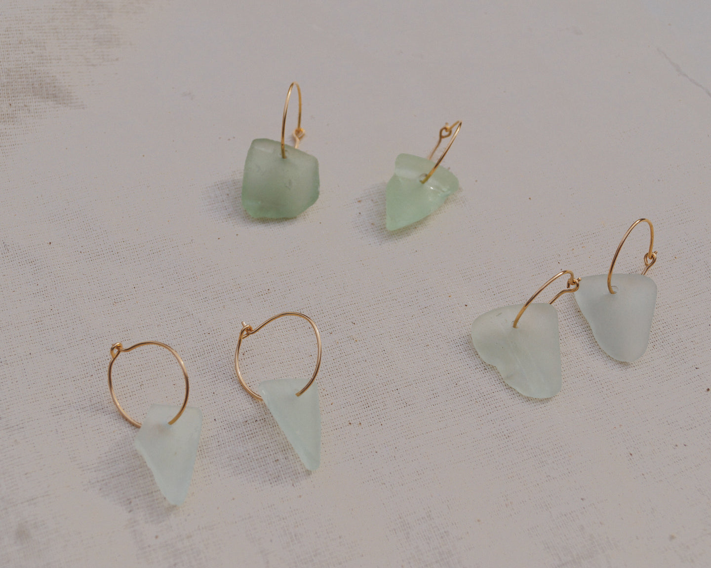 Gold Blue Seaglass Hoops