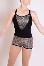 Load image into Gallery viewer, Black and Leopard sequin romper