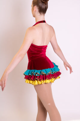 Red velvet halter neck with bright frill skirt