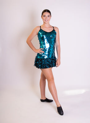 Blue sequin frill dress