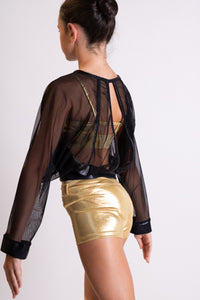 Strut stuff Gold two piece with black mesh over top