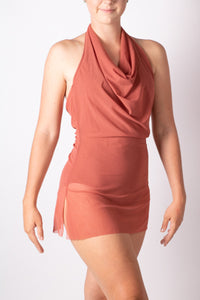 Mesh Cowneck dress with leotard
