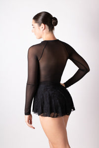 Black mesh and lace detail peplum top