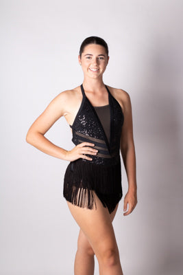 Glam Sequin, mesh and tassle Dress Black