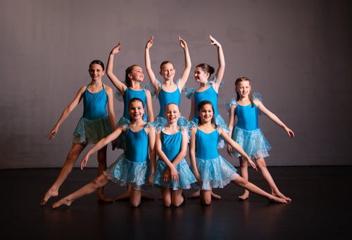 Blue lycra and chiffon Ballet Group Costumes - EMAIL TO ENQUIRE