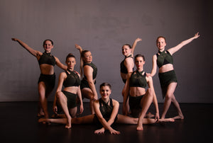 Green & Black Assymetrical Group Costume - EMAIL TO ENQUIRE