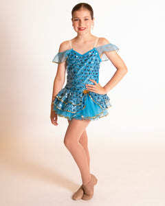Blue and Gold Sequin Costume