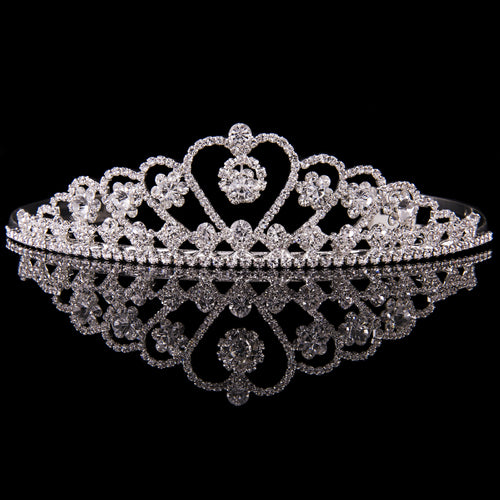 Large heart tiara silver