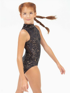 Damask High Neck Infinity Leotard - Girls