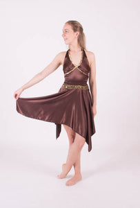 Brown Satin Lyrical Dress