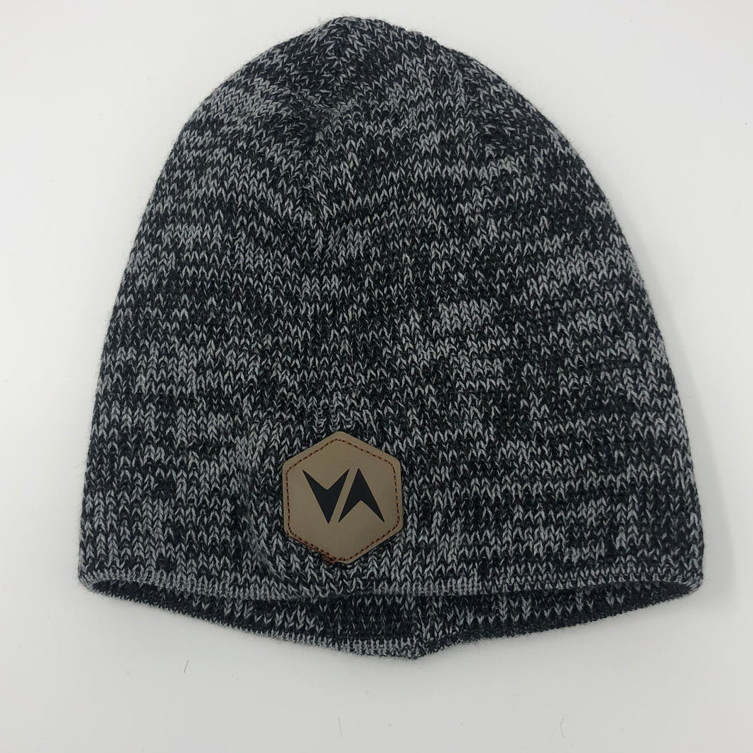 VirtuALL Leather Patch - Marled Knit Beanie - Grey/Charcoal