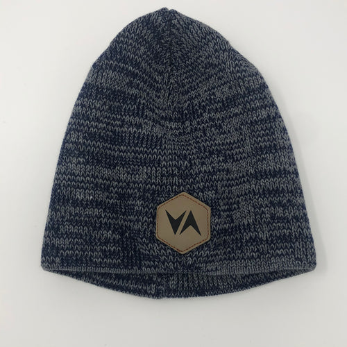 VirtuALL Leather Patch - Marled Knit Beanie - Navy/Dark Grey