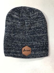 New York Leather Patch - Marled Knit Beanie - Navy/Dark Grey