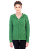 Aran Merino Wool Women's full zip, hood cardigan, Kelly Green and Natural Off-White