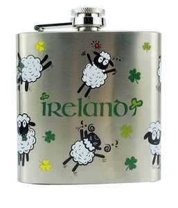 Hip Flask, 6oz, Shamrock and Sheep pattern