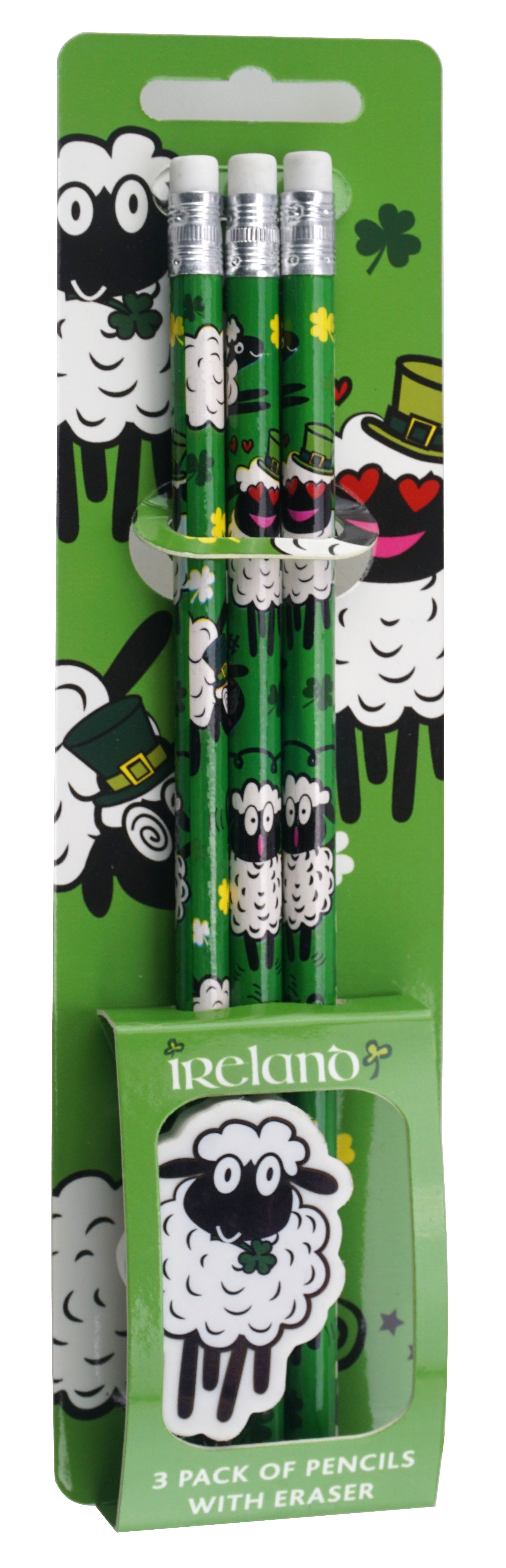 Set of 3 Pencils with Eraser, Sheep design