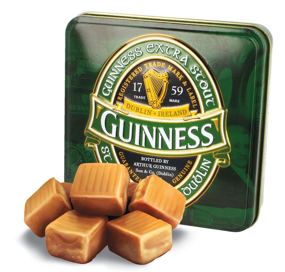 Guinness Gift Tin of Fudge, Green Ireland label design