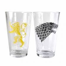 Game of Thrones Set of 2 Large Glasses (Stark and Lan)