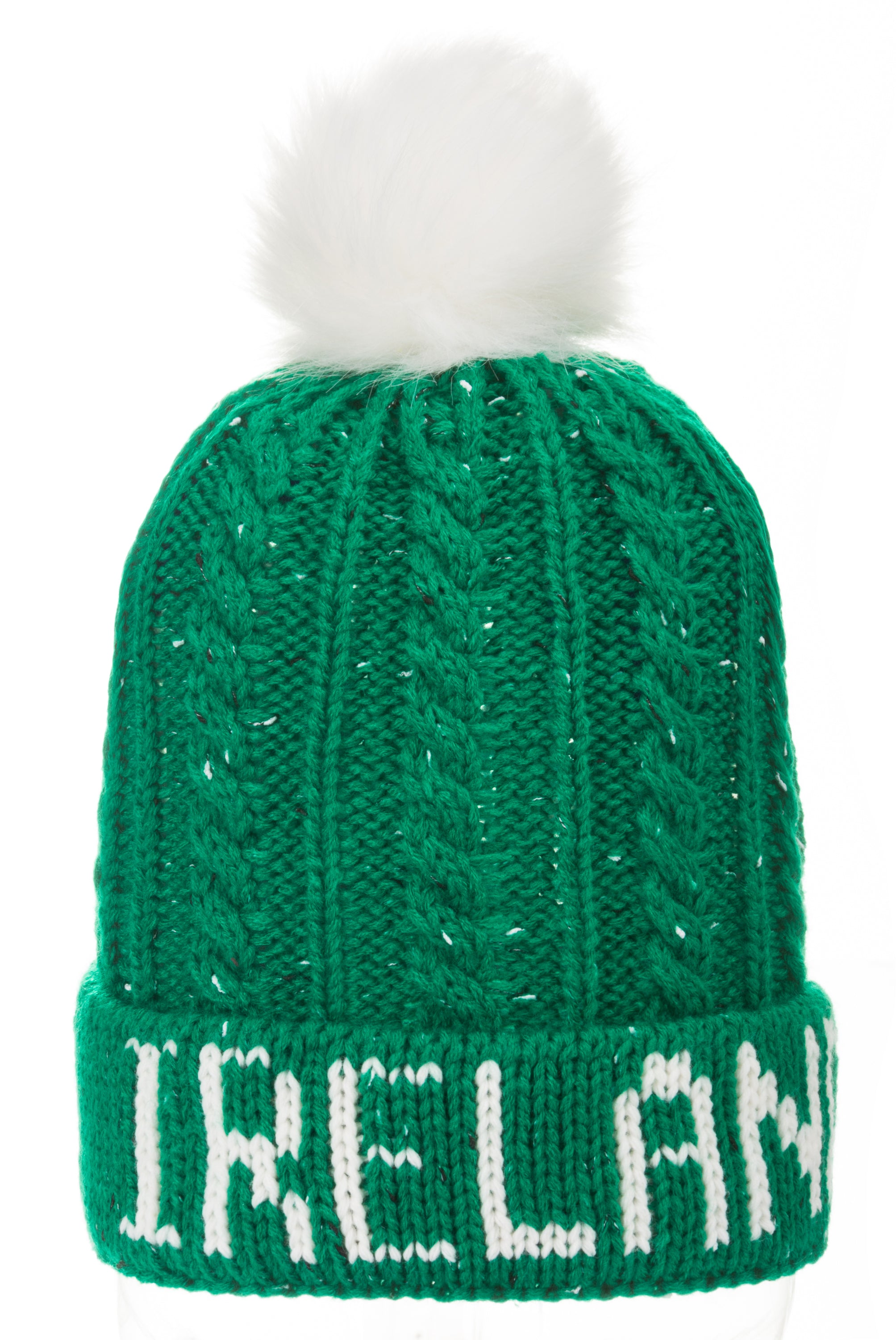 Hats, Ireland logo, green with white logo and pom pom