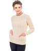 Aran Merino Wool Cable Knit Crew Sweater, Women's, 3 color options