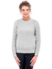 Aran Merino Wool Ribbed Sweater, Women's, Natural, Grey and Navy options