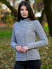 Aran Merino Wool, side zip cardigan, natural white, light grey and navy colour options