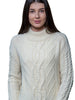 Aran Merino Wool Turtle Neck Cable Sweater, Women's, natural colour