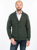 Aran Merino Cardigan with shawl collar and button, charcoal, navy and green options