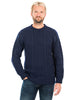 Aran Merino Crew Neck Traditional Sweater with Honeycomb Pattern