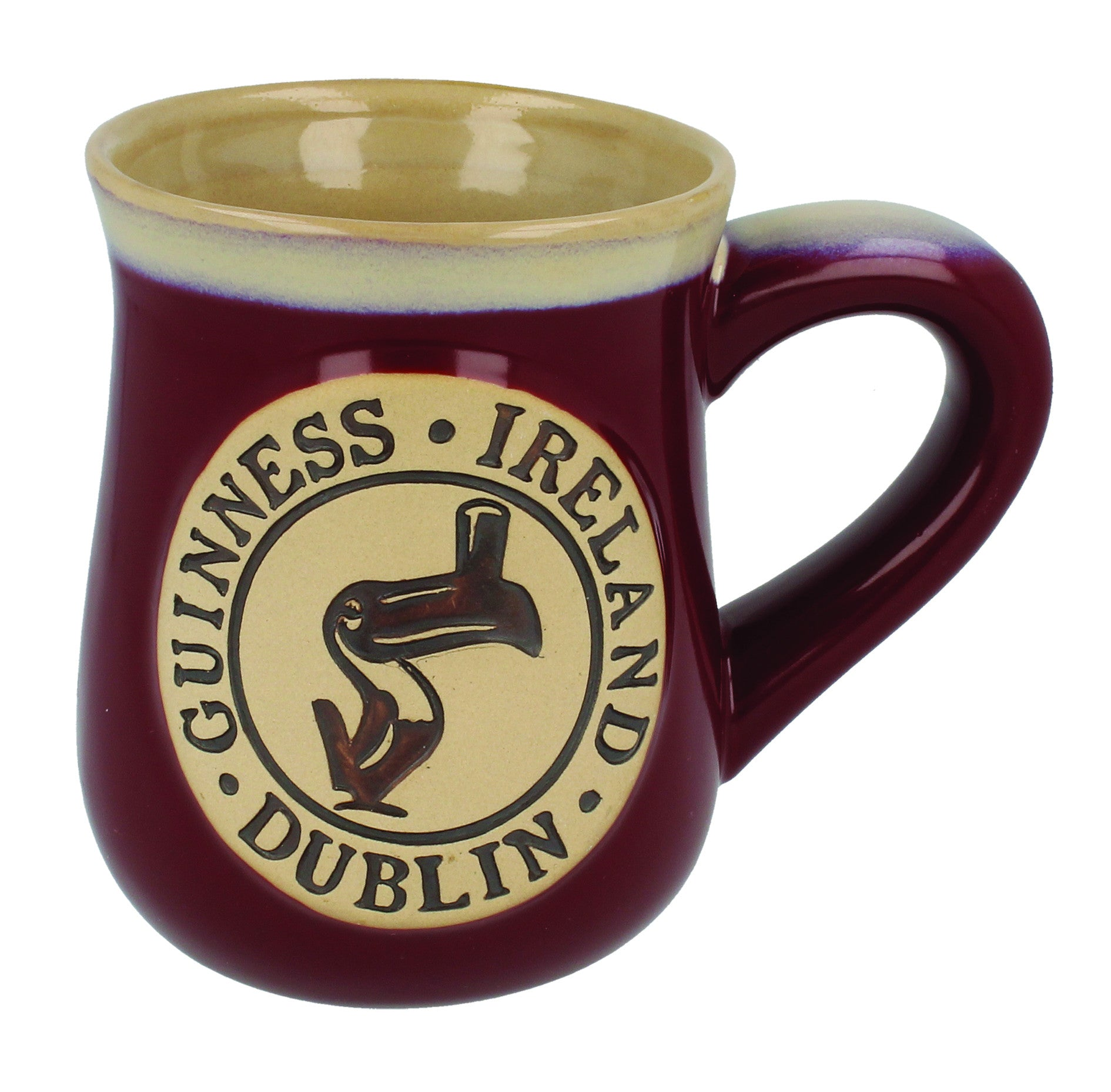 Guinness Pottery Mug, Toucan design, Burgundy Red