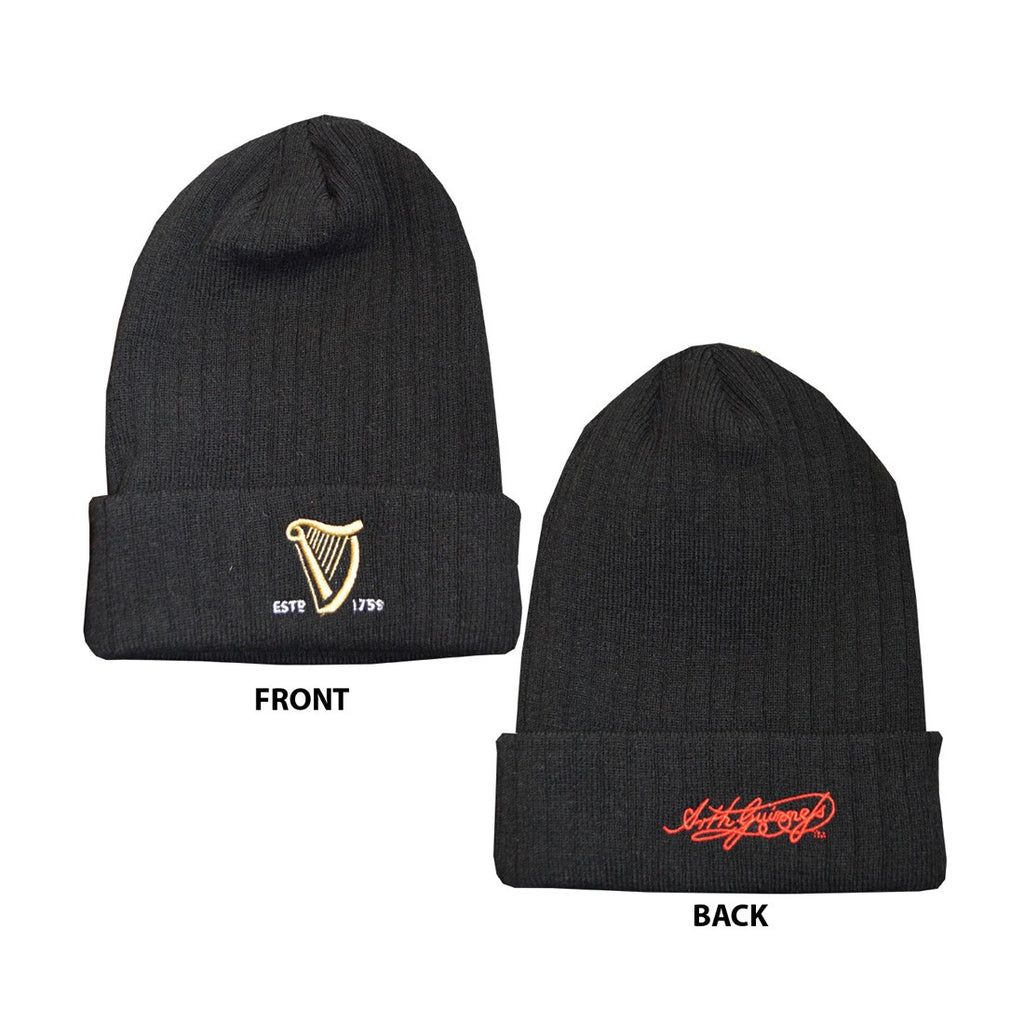 Guinness Beanie Hat, Black, with turn-up