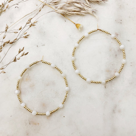 White + Gold Beaded Hoops