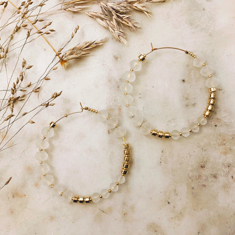 Translucent + Gold Beaded Hoops