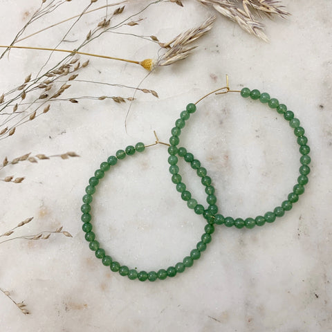 Jade Beaded Hoops