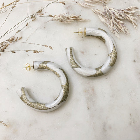 Shimmer and Gold Hoops